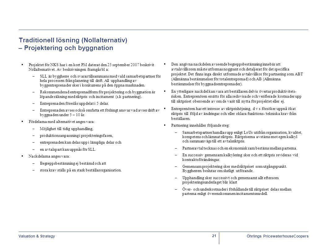 Valuation & StrategyÖhrlings PricewaterhouseCoopers 21 Traditionell lösning (Nollalternativ) – Projektering och byggnation  Projektet för NKS har i en kort PM daterat den 25 september 2007 beskrivit Nollalternativet.