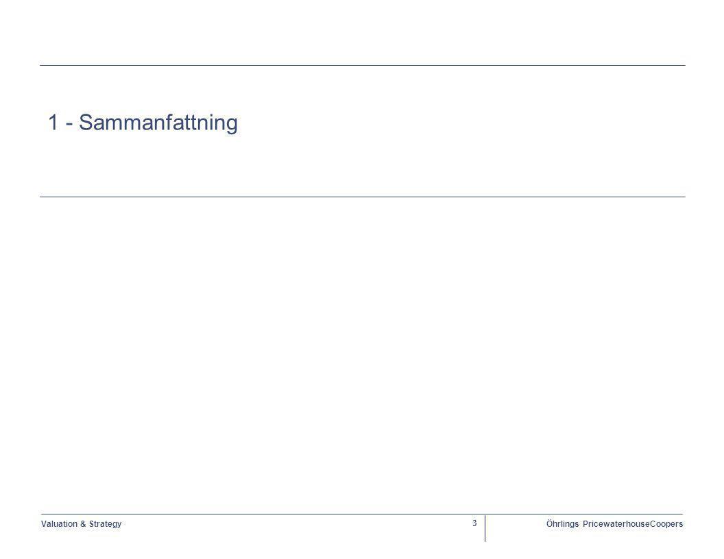 Valuation & StrategyÖhrlings PricewaterhouseCoopers 4 Sammanfattning Uppdrag  Öhrlings PricewaterhouseCoopers Corporate Finance ( ÖPwC ) har fått i uppdrag av Stockholms Läns Landsting ( SLL ) att beskriva och genomlysa förutsättningarna för att välja alternativa lösningar för finansiering och drift av hela eller delar av Nya Karolinska Solna ( NKS ) samt utvärdera konsekvenserna av dessa.
