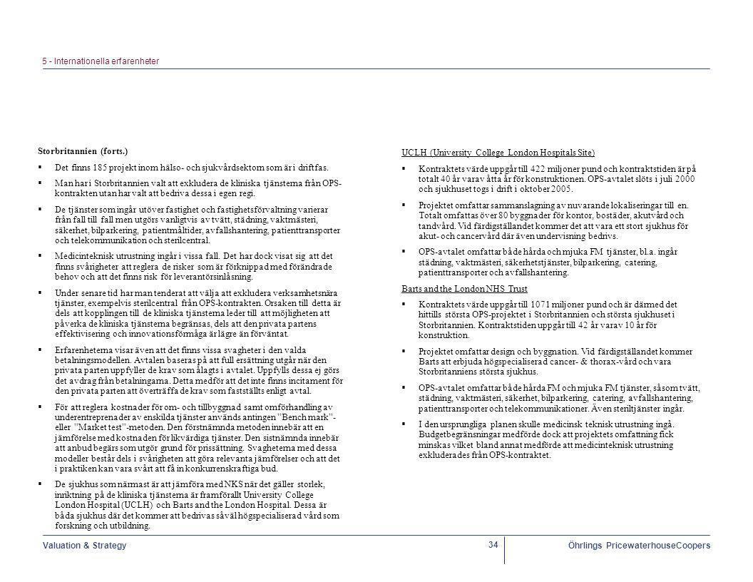 Valuation & StrategyÖhrlings PricewaterhouseCoopers 34 UCLH (University College London Hospitals Site)  Kontraktets värde uppgår till 422 miljoner pund och kontraktstiden är på totalt 40 år varav åtta år för konstruktionen.