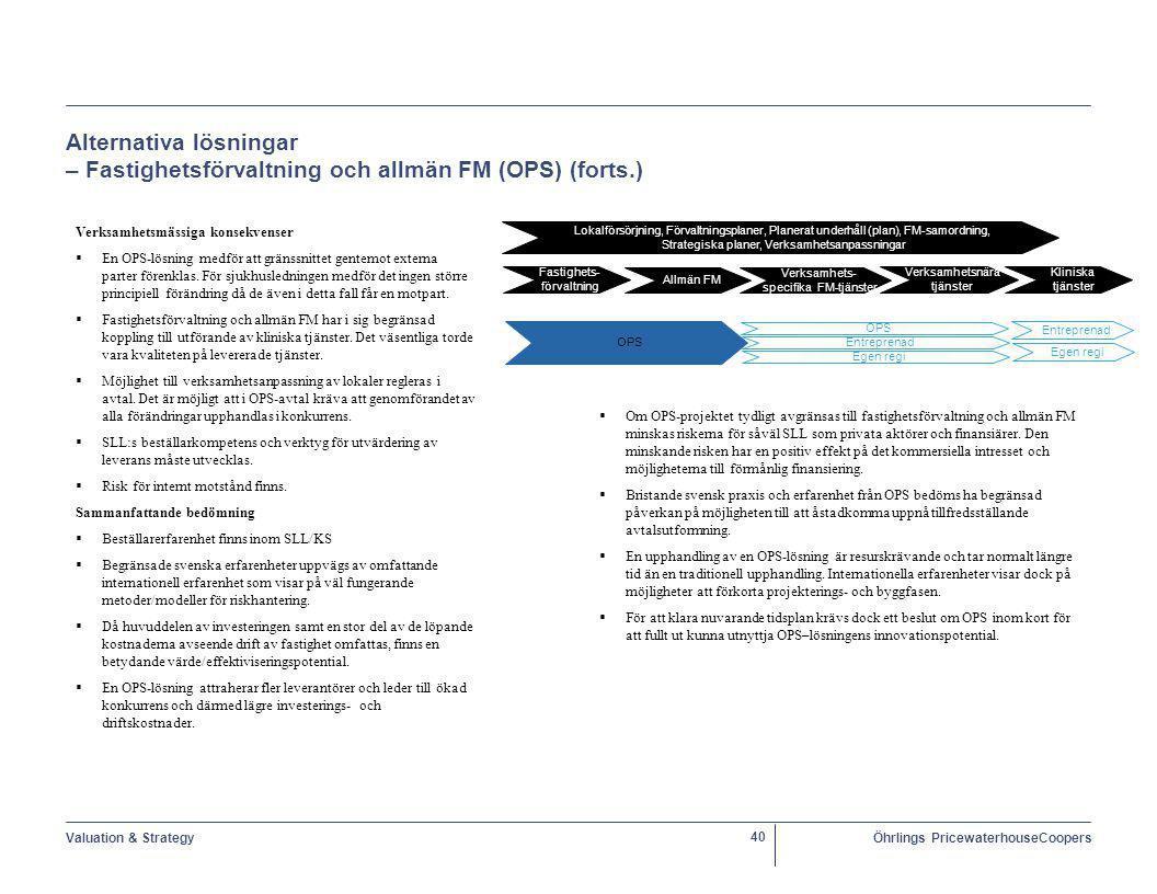 Valuation & StrategyÖhrlings PricewaterhouseCoopers 40 Alternativa lösningar – Fastighetsförvaltning och allmän FM (OPS) (forts.) Verksamhetsmässiga konsekvenser  En OPS-lösning medför att gränssnittet gentemot externa parter förenklas.