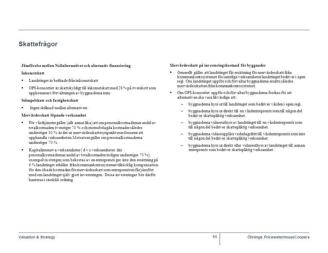 Valuation & StrategyÖhrlings PricewaterhouseCoopers 55 Skattefrågor Jämförelse mellan Nollalternativet och alternativ finansiering Inkomstskatt   Landstinget är befriade från inkomstskatt   OPS-konsortiet är skattskyldigt till inkomstskatt med 28 % på överskott som uppkommer i förvaltningen av byggnaderna mm.