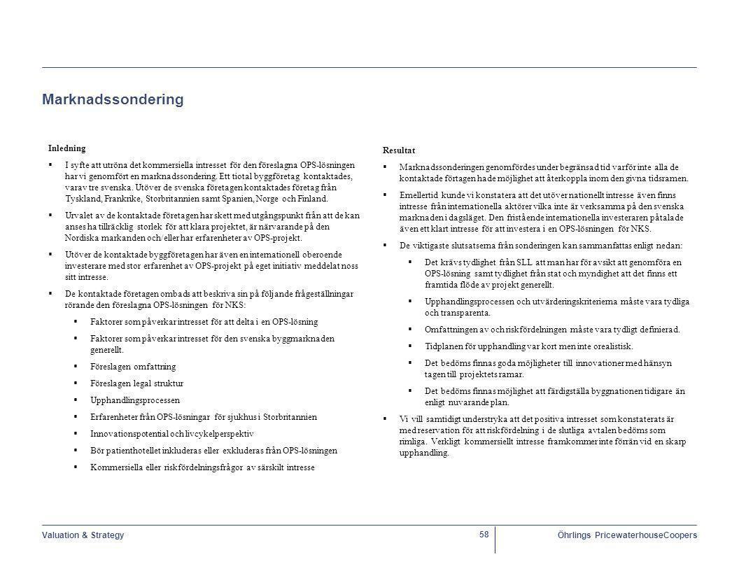Valuation & StrategyÖhrlings PricewaterhouseCoopers 58 Marknadssondering Inledning   I syfte att utröna det kommersiella intresset för den föreslagna OPS-lösningen har vi genomfört en marknadssondering.