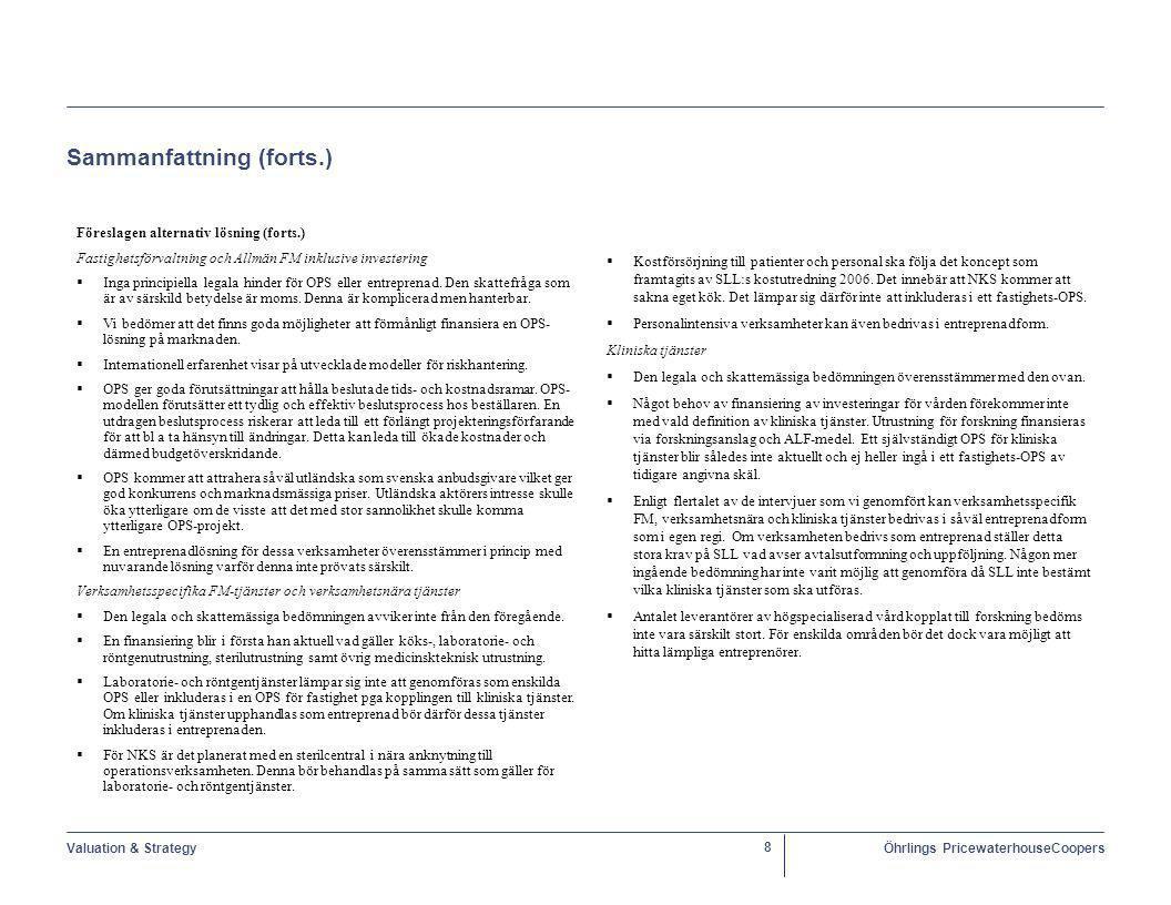 Valuation & StrategyÖhrlings PricewaterhouseCoopers 39 Alternativa lösningar – Fastighetsförvaltning och allmän FM (OPS) Generell beskrivning  SLL uppdrar, efter upphandling, till ett privat konsortium att bygga och förvalta fastighet samt leverera allmänna FM- tjänster till SLL under en längre avtalsperiod.