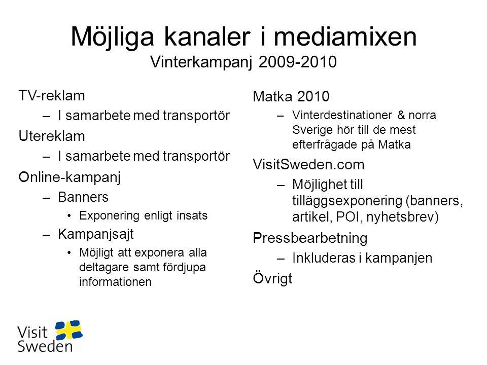Möjliga kanaler i mediamixen Vinterkampanj 2009-2010 Matka 2010 –Vinterdestinationer & norra Sverige hör till de mest efterfrågade på Matka VisitSwede