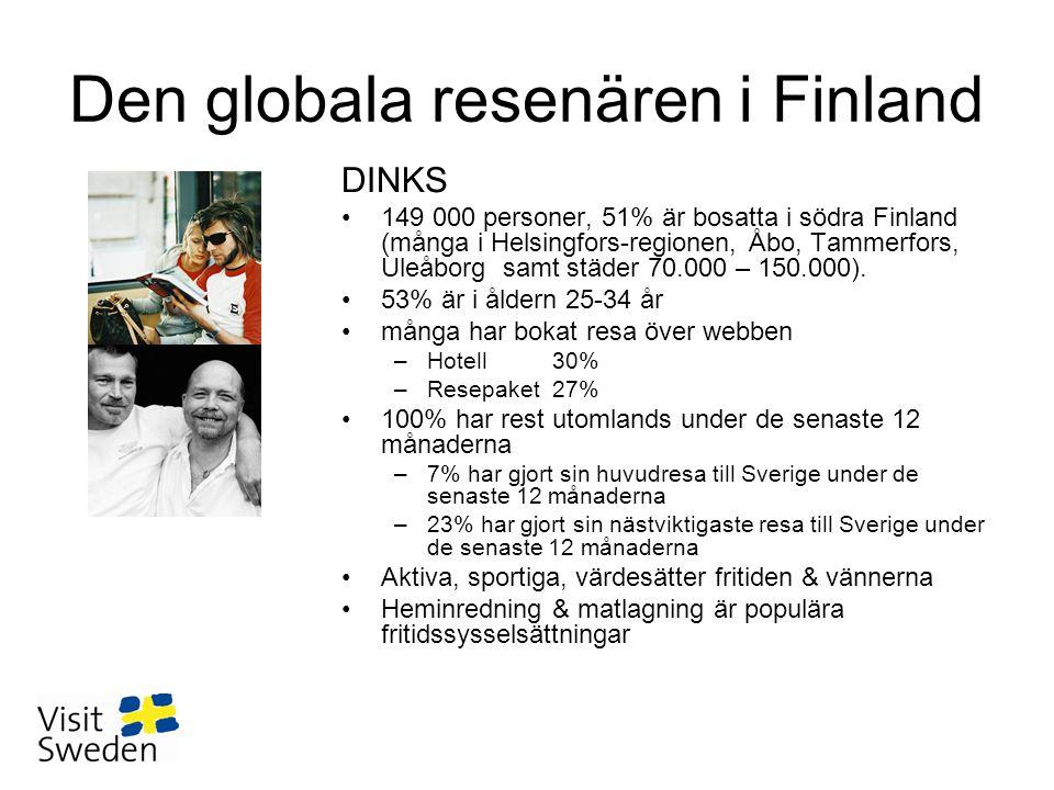 Den globala resenären i Finland DINKS •149 000 personer, 51% är bosatta i södra Finland (många i Helsingfors-regionen, Åbo, Tammerfors, Uleåborg samt