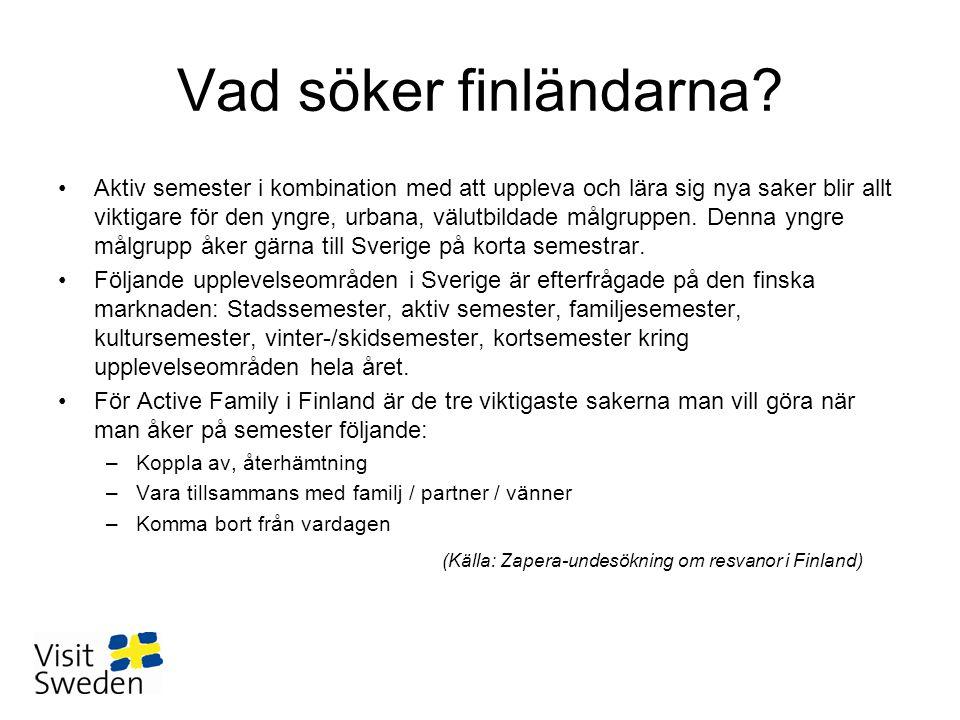 Vad söker finländarna? •Aktiv semester i kombination med att uppleva och lära sig nya saker blir allt viktigare för den yngre, urbana, välutbildade må