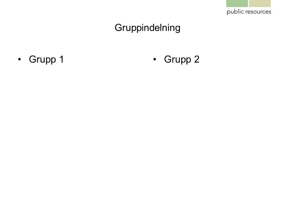 Gruppindelning •Grupp 1•Grupp 2
