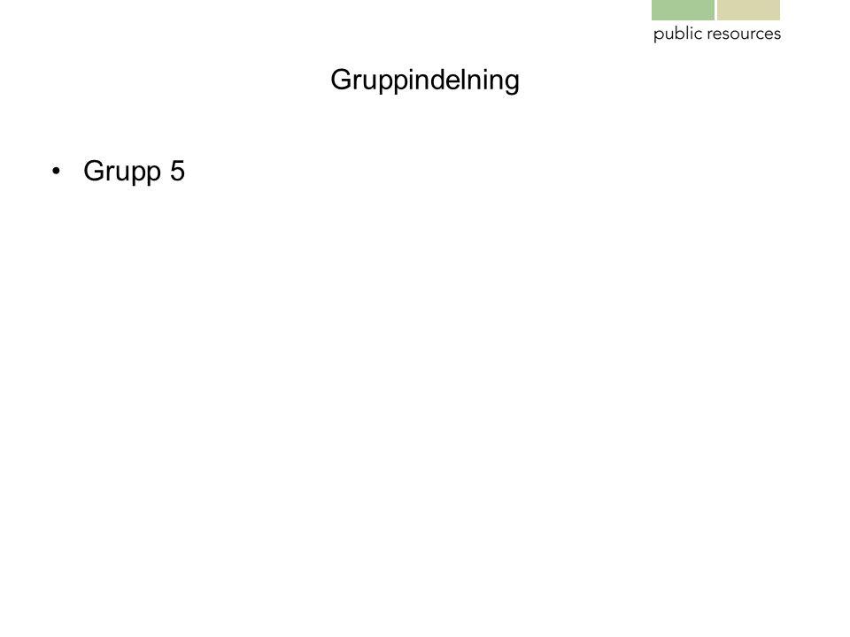 Gruppindelning •Grupp 5