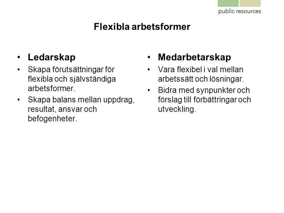 Flexibla arbetsformer •Ledarskap •Skapa förutsättningar för flexibla och självständiga arbetsformer. •Skapa balans mellan uppdrag, resultat, ansvar oc