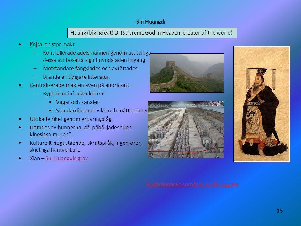15 Shi Huangdi •Kejsaren stor makt –Kontrollerade adelsmännen genom att tvinga dessa att bosätta sig i huvudstaden Loyang –Motståndare fängslades och