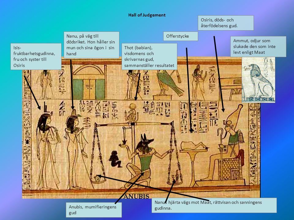 9 Hall of Judgement Isis- fruktbarhetsgudinna, fru och syster till Osiris Nanu, på väg till dödsriket. Hon håller sin mun och sina ögon i sin hand Osi