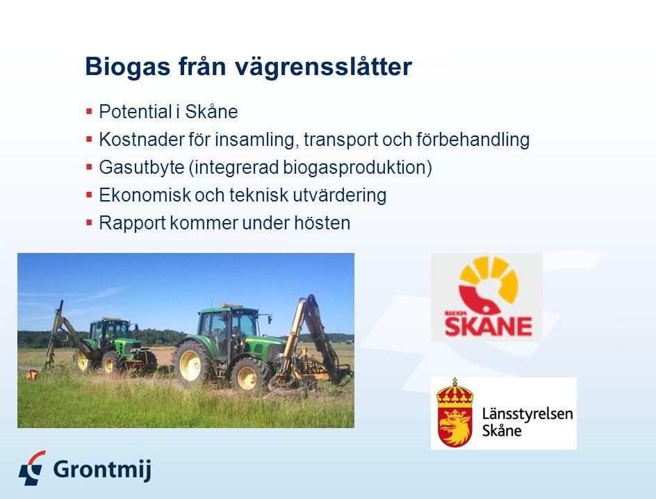 Biogas från vägrensslåtter  Potential i Skåne  Kostnader för insamling, transport och förbehandling  Gasutbyte (integrerad biogasproduktion)  Ekon