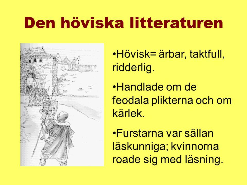 •Författarna var lärda män som skrev på latin.Ofta krigiska riddarromaner.