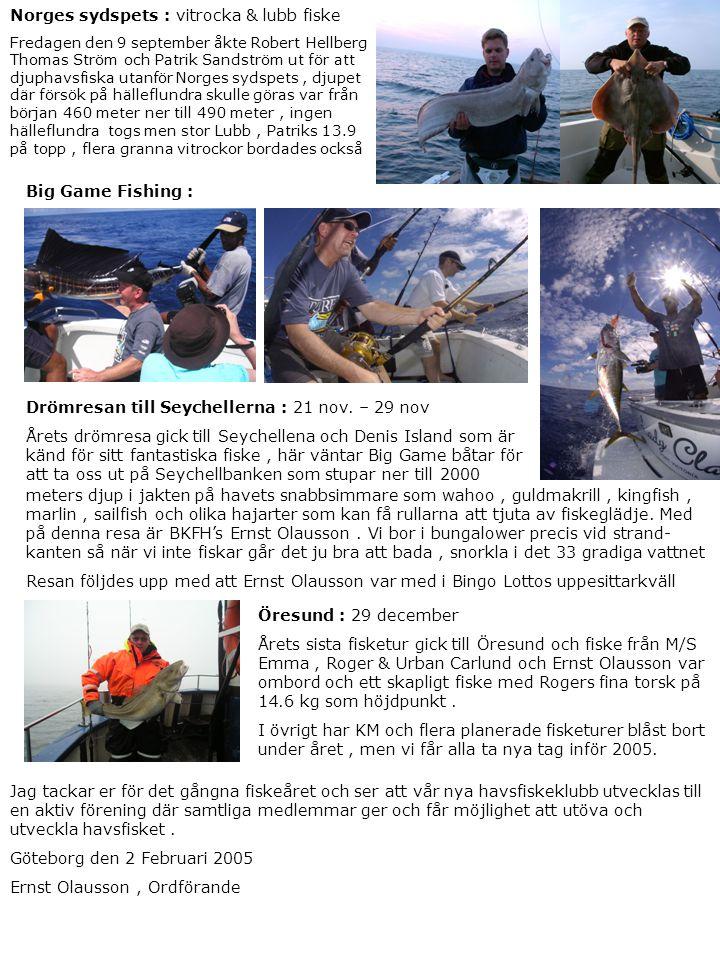 Norges sydspets : vitrocka & lubb fiske Fredagen den 9 september åkte Robert Hellberg Thomas Ström och Patrik Sandström ut för att djuphavsfiska utanf