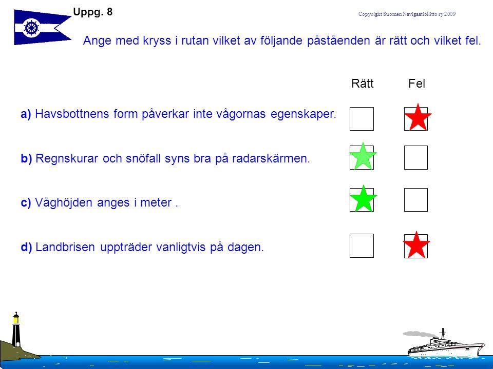 Copyright Suomen Navigaatioliitto ry 2009 a)Vågorna har tre centrala egenskaper, vilka är de.