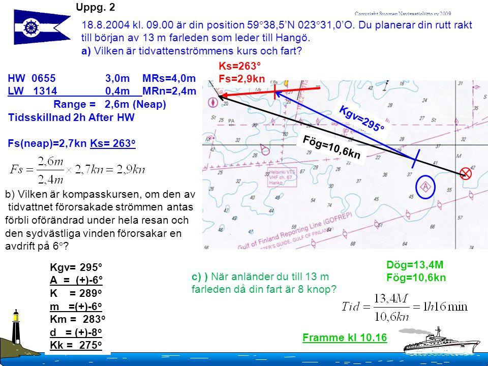 Copyright Suomen Navigaatioliitto ry 2009 Uppg. 2 18.8.2004 kl. 09.00 är din position 59  38,5'N 023  31,0'O. Du planerar din rutt rakt till början