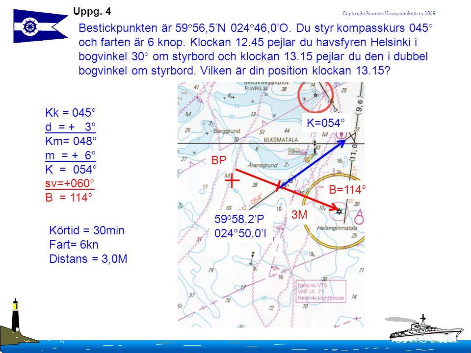 Copyright Suomen Navigaatioliitto ry 2009 Bestickpunkten är 59  56,5'N 024  46,0'O. Du styr kompasskurs 045  och farten är 6 knop. Klockan 12.45 pe