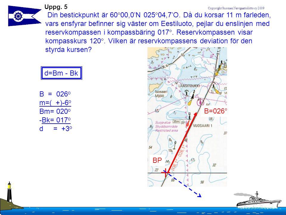 Copyright Suomen Navigaatioliitto ry 2009 Uppg. 5 Din bestickpunkt är 60  00,0'N 025  04,7'O. Då du korsar 11 m farleden, vars ensfyrar befinner sig