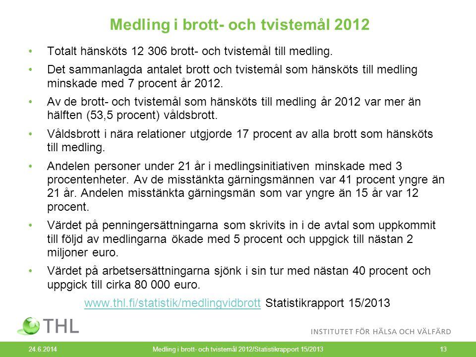 Medling i brott- och tvistemål 2012 24.6.2014Medling i brott- och tvistemål 2012/Statistikrapport 15/201313 •Totalt hänsköts 12 306 brott- och tvistemål till medling.