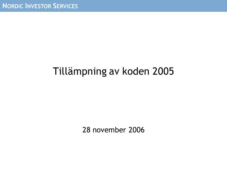 Tillämpning av koden 2005 28 november 2006