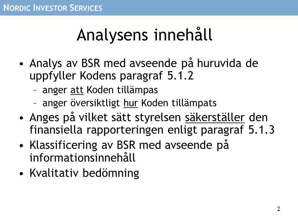2 Analysens innehåll •Analys av BSR med avseende på huruvida de uppfyller Kodens paragraf 5.1.2 –anger att Koden tillämpas –anger översiktligt hur Koden tillämpats •Anges på vilket sätt styrelsen säkerställer den finansiella rapporteringen enligt paragraf 5.1.3 •Klassificering av BSR med avseende på informationsinnehåll •Kvalitativ bedömning