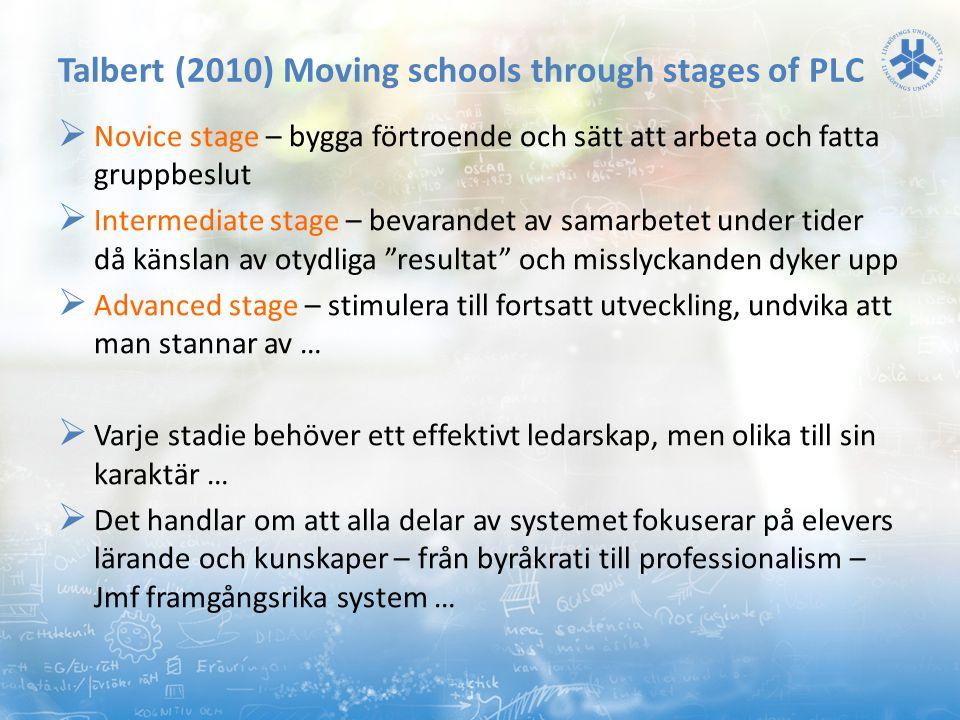 Talbert (2010) Moving schools through stages of PLC  Novice stage – bygga förtroende och sätt att arbeta och fatta gruppbeslut  Intermediate stage –