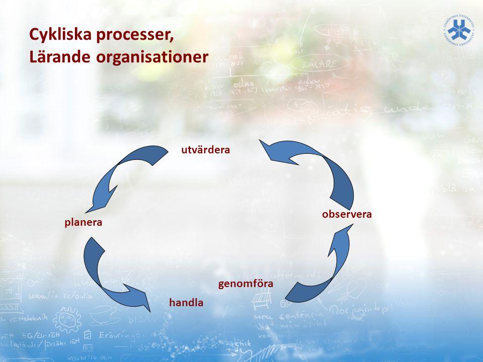 Cykliska processer, Lärande organisationer utvärdera planera handla genomföra observera