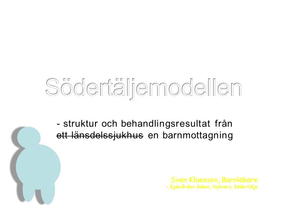- struktur och behandlingsresultat från ett länsdelssjukhus en barnmottagning Sven Klaesson, Barnläkare - Sjukvården Salem, Nykvarn, Södertälje