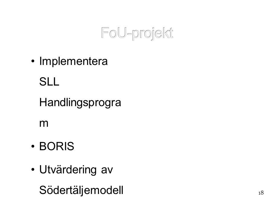 """•Implementera SLL Handlingsprogra m •BORIS •Utvärdering av Södertäljemodell en •""""Telefonstudien"""" • NYork 18"""