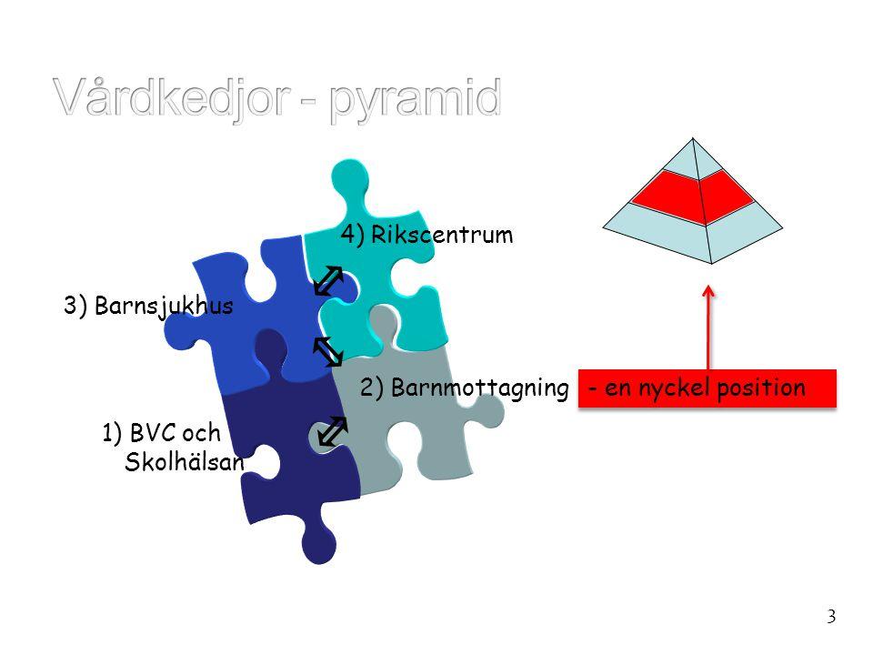 4) Rikscentrum 1) BVC och Skolhälsan 3) Barnsjukhus 2) Barnmottagning - en nyckel position 3