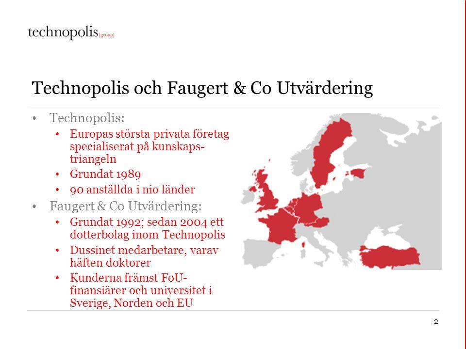 2 Technopolis och Faugert & Co Utvärdering • Technopolis: • Europas största privata företag specialiserat på kunskaps- triangeln • Grundat 1989 • 90 a