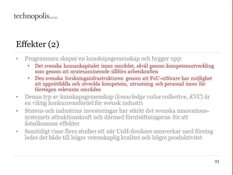 23 Effekter (2) • Programmen skapar en kunskapsgemenskap och bygger upp: • Det svenska humankapitalet inom området, såväl genom kompetensutveckling so