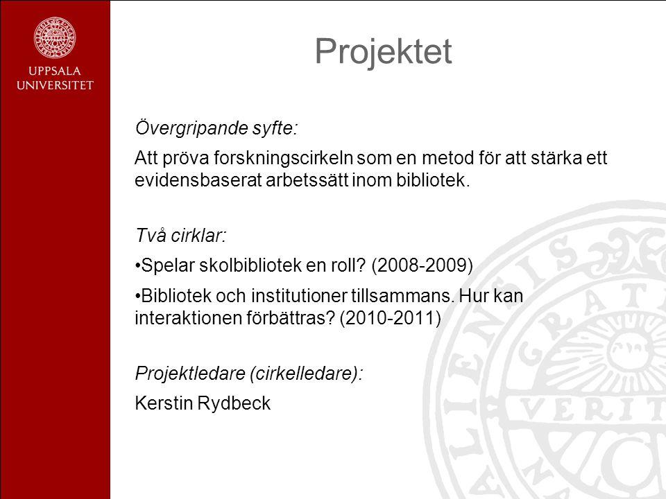Projektet Övergripande syfte: Att pröva forskningscirkeln som en metod för att stärka ett evidensbaserat arbetssätt inom bibliotek.