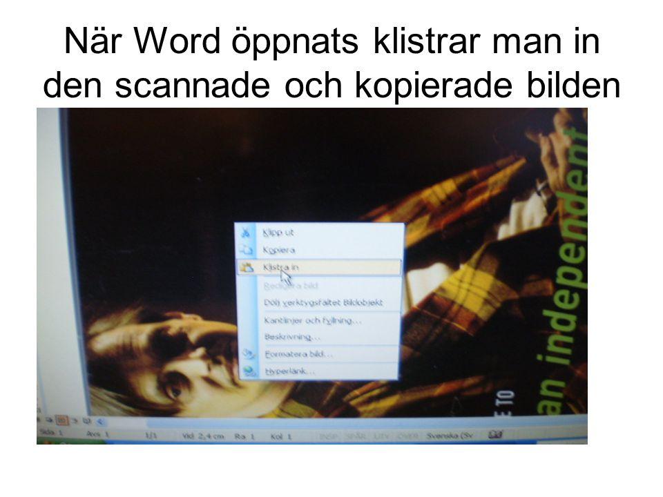 När Word öppnats klistrar man in den scannade och kopierade bilden
