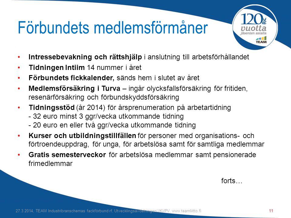 Förbundets medlemsförmåner •Intressebevakning och rättshjälp i anslutning till arbetsförhållandet •Tidningen Intiim 14 nummer i året •Förbundets fickkalender, sänds hem i slutet av året •Medlemsförsäkring i Turva – ingår olycksfallsförsäkring för fritiden, resenärförsäkring och förbundskyddsförsäkring •Tidningsstöd (år 2014) för årsprenumeration på arbetartidning - 32 euro minst 3 ggr/vecka utkommande tidning - 20 euro en eller två ggr/vecka utkommande tidning •Kurser och utbildningstillfällen för personer med organisations- och förtroendeuppdrag, för unga, för arbetslösa samt för samtliga medlemmar •Gratis semesterveckor för arbetslösa medlemmar samt pensionerade frimedlemmar forts… 27.3.2014, TEAM Industribranschernas fackförbund rf, Utvecklingsavdelningen/JKi/PV, www.teamliitto.fi11