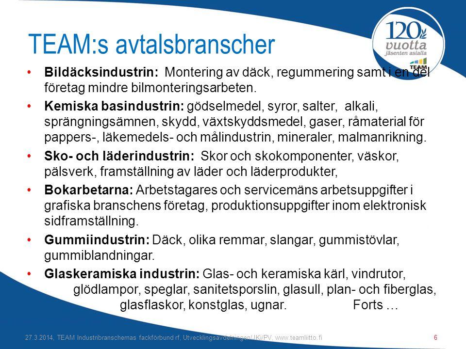 TEAM:s avtalsbranscher •Bildäcksindustrin: Montering av däck, regummering samt i en del företag mindre bilmonteringsarbeten.