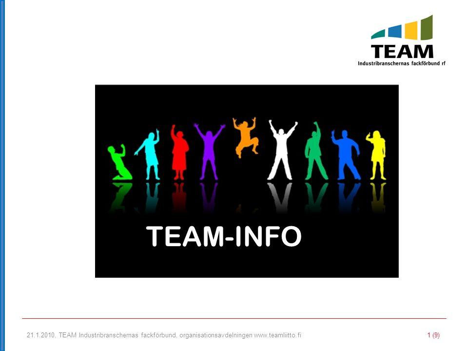 21.1.2010, TEAM Industribranschernas fackförbund, organisationsavdelningen www.teamliitto.fi 2 (9) VARFÖR ANSLUTA SIG TILL ETT FACKFÖRBUND.