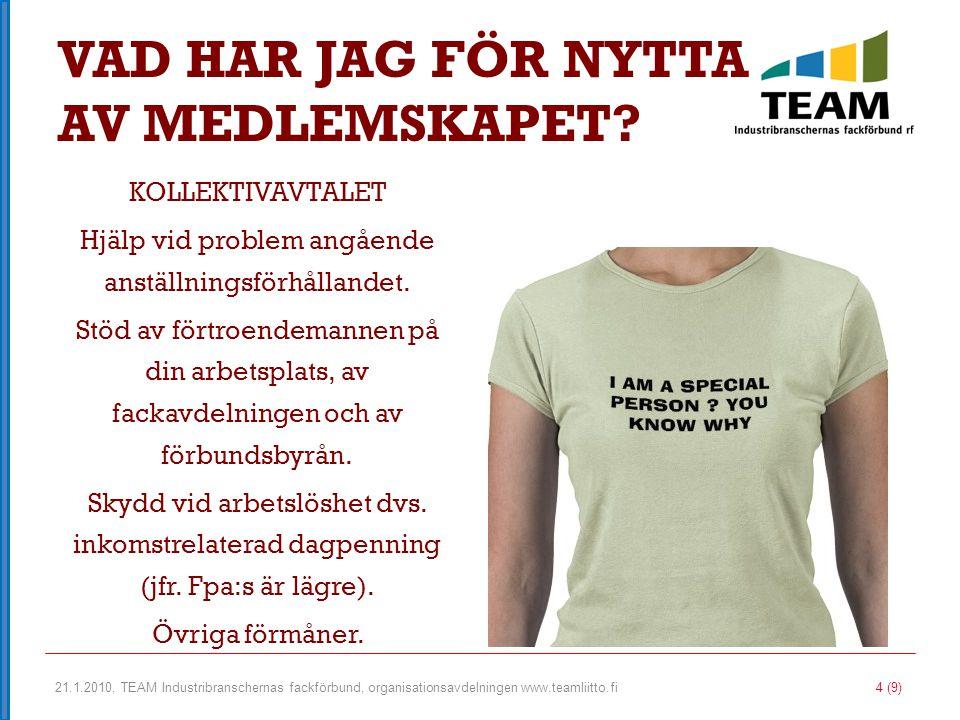 21.1.2010, TEAM Industribranschernas fackförbund, organisationsavdelningen www.teamliitto.fi 5 (9) FÖRBUNDETS MEDLEMSFÖRMÅNER Olycksfallsförsäkring för fritiden, resenärförsdäkring och förbundsförsäkring.