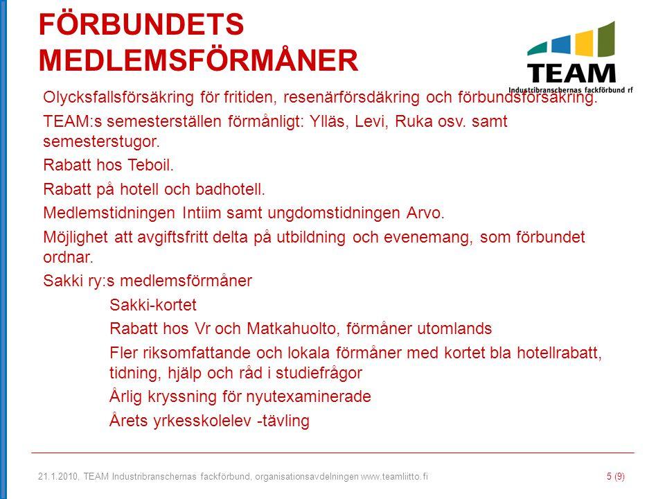 21.1.2010, TEAM Industribranschernas fackförbund, organisationsavdelningen www.teamliitto.fi 5 (9) FÖRBUNDETS MEDLEMSFÖRMÅNER Olycksfallsförsäkring fö