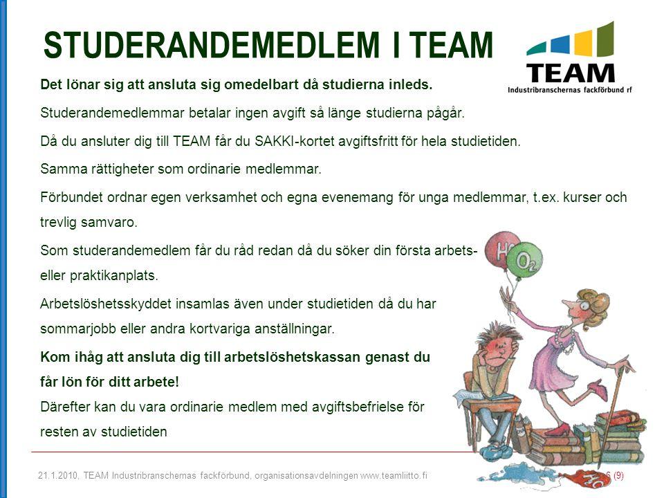 21.1.2010, TEAM Industribranschernas fackförbund, organisationsavdelningen www.teamliitto.fi 6 (9) STUDERANDEMEDLEM I TEAM Det lönar sig att ansluta s