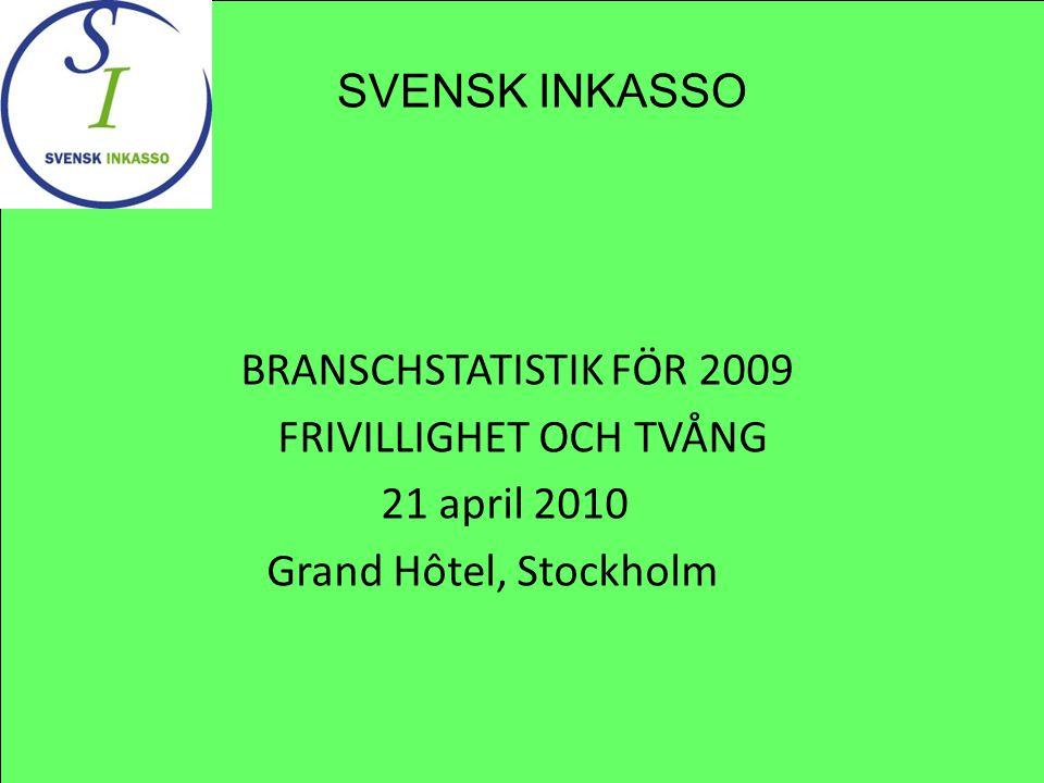 BRANSCHSTATISTIK FÖR 2009 FRIVILLIGHET OCH TVÅNG 21 april 2010 Grand Hôtel, Stockholm SVENSK INKASSO