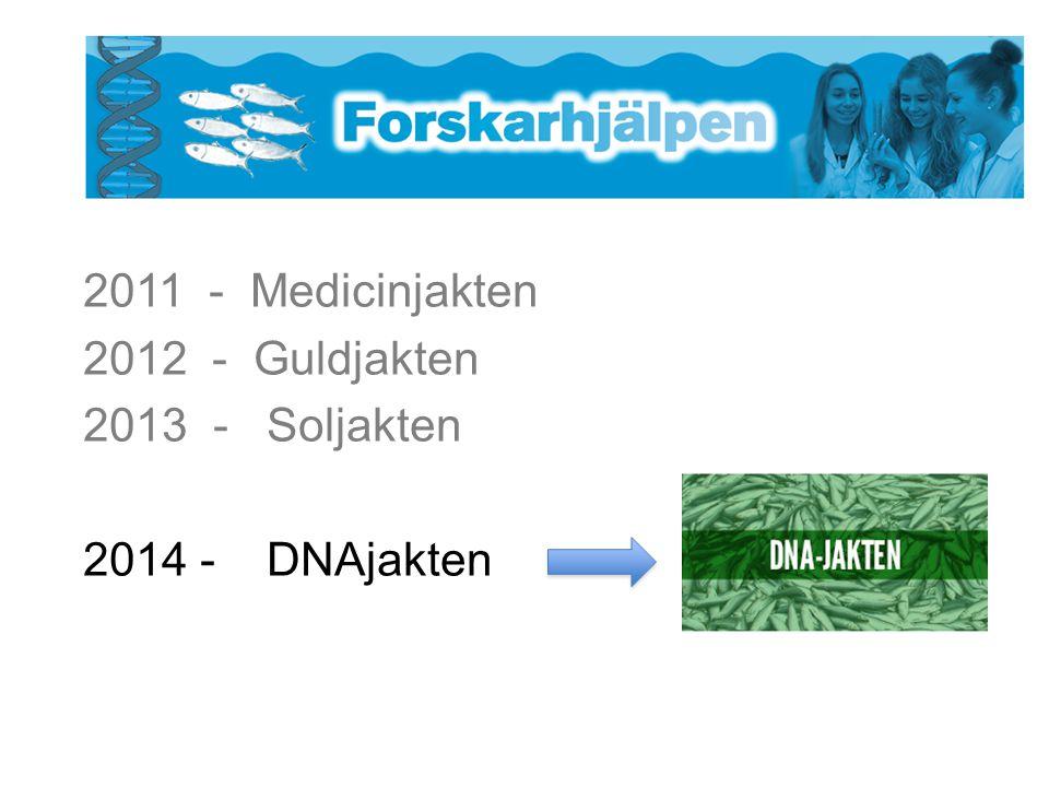 2011 - Medicinjakten 2012 - Guldjakten 2013 - Soljakten 2014 - DNAjakten