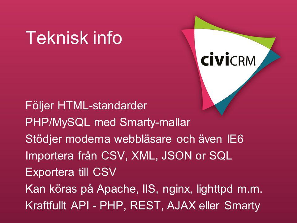 Teknisk info Följer HTML-standarder PHP/MySQL med Smarty-mallar Stödjer moderna webbläsare och även IE6 Importera från CSV, XML, JSON or SQL Exportera