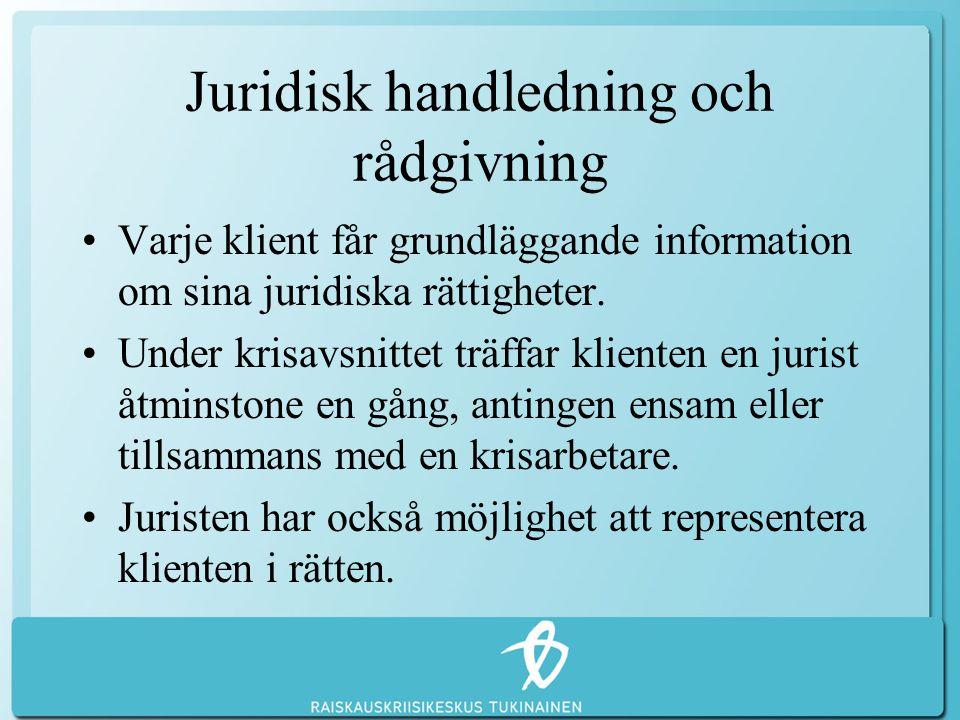 Juridisk handledning och rådgivning •Varje klient får grundläggande information om sina juridiska rättigheter. •Under krisavsnittet träffar klienten e