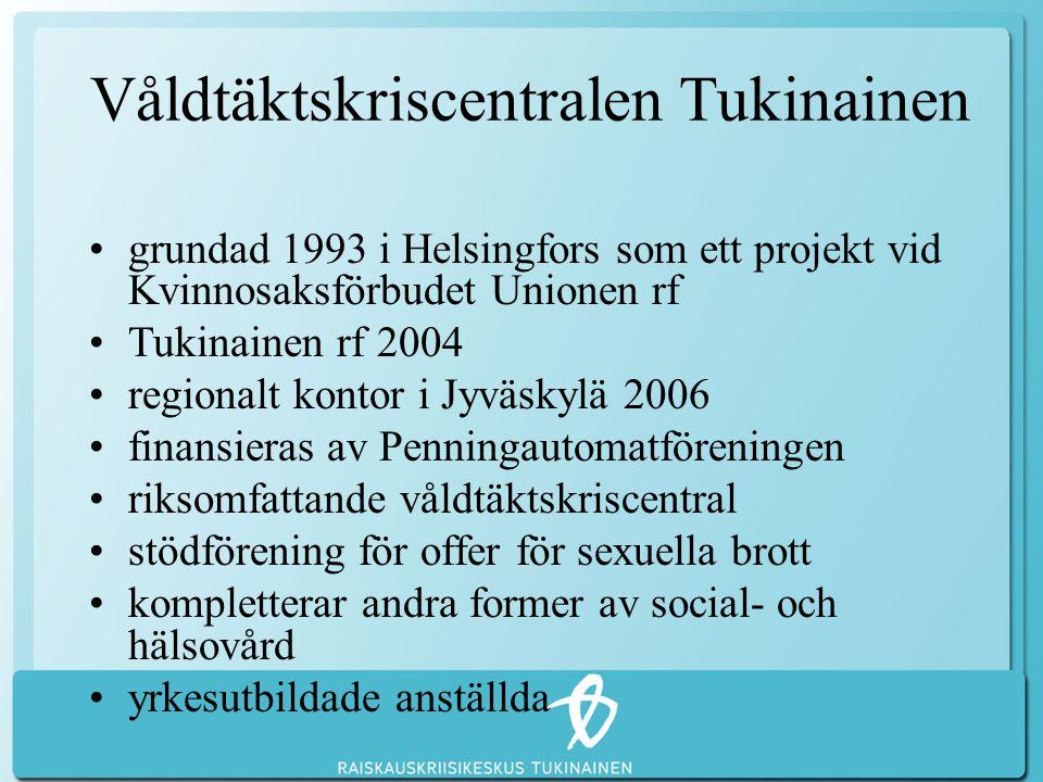 Våldtäktskriscentralen Tukinainen •grundad 1993 i Helsingfors som ett projekt vid Kvinnosaksförbudet Unionen rf •Tukinainen rf 2004 •regionalt kontor i Jyväskylä 2006 •finansieras av Penningautomatföreningen •riksomfattande våldtäktskriscentral •stödförening för offer för sexuella brott •kompletterar andra former av social- och hälsovård •yrkesutbildade anställda