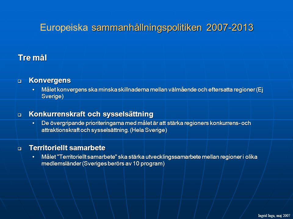 sammanhållningspolitiken 2007-2013 Europeiska sammanhållningspolitiken 2007-2013 Tre mål  Konvergens •Målet konvergens ska minska skillnaderna mellan välmående och eftersatta regioner (Ej Sverige)  Konkurrenskraft och sysselsättning •De övergripande prioriteringarna med målet är att stärka regioners konkurrens- och attraktionskraft och sysselsättning.