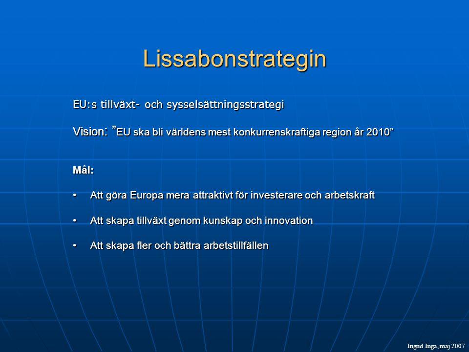 Lissabonstrategin EU:s tillväxt- och sysselsättningsstrategi Vision : EU ska bli världens mest konkurrenskraftiga region år 2010 Mål: •Att göra Europa mera attraktivt för investerare och arbetskraft •Att skapa tillväxt genom kunskap och innovation •Att skapa fler och bättra arbetstillfällen Ingrid Inga, maj 2007
