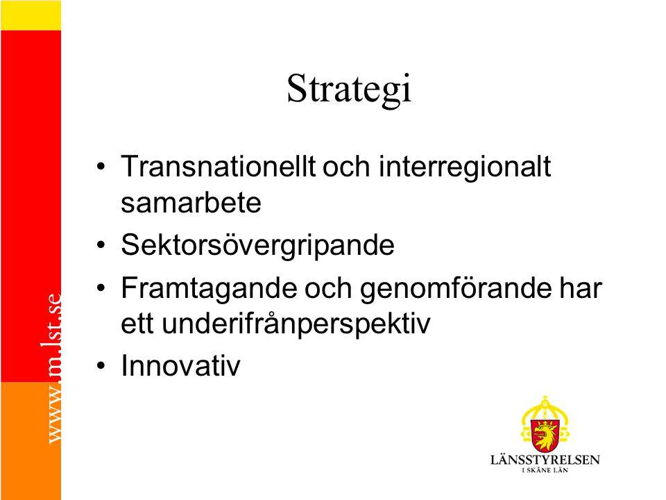 Strategi •T•Transnationellt och interregionalt samarbete •S•Sektorsövergripande •F•Framtagande och genomförande har ett underifrånperspektiv •I•Innova
