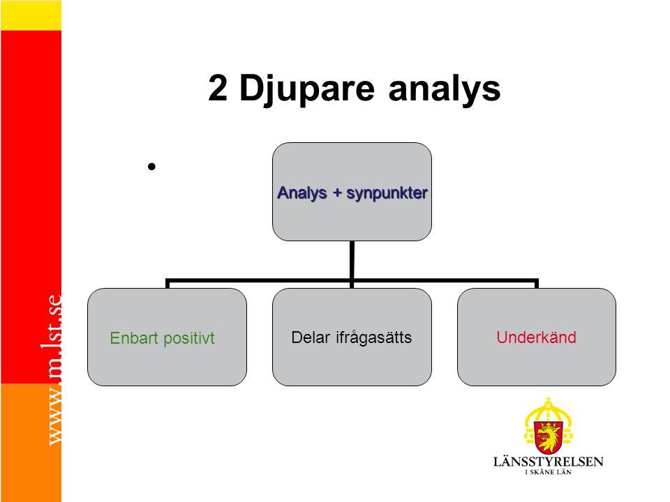 2 Djupare analys • Analys + synpunkter Enbart positivt Delar ifrågasätts Underkänd