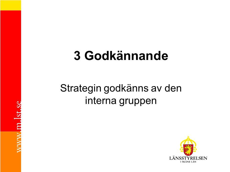 3 Godkännande Strategin godkänns av den interna gruppen